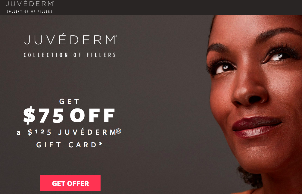 Juvederm gift card value $125 for only $50